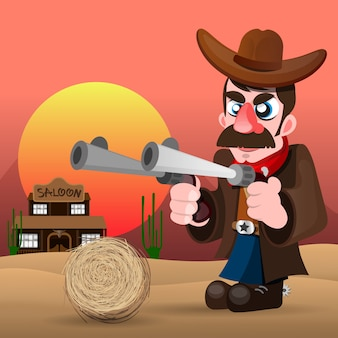 Cowboy with gun and hat vector illustration