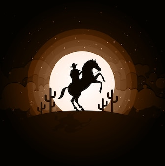 Cowboy with horse wild west moon night landscape