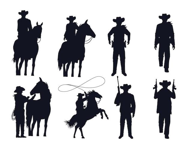 Силуэты фигур ковбоев с пушками и лошадьми, векторная иллюстрация дизайн