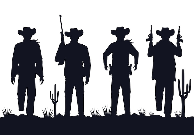 Cowboys figures silhouettes with guns characters in the desert