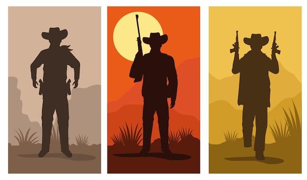 Силуэты фигур ковбоев с персонажами оружия устанавливают сцены векторной иллюстрации дизайн