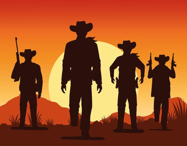 Cowboys figures silhouettes with guns characters sunset lansdscape scene