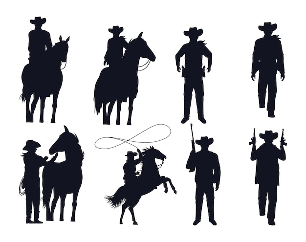 Cowboys figures silhouettes with guns and horses vector illustration design