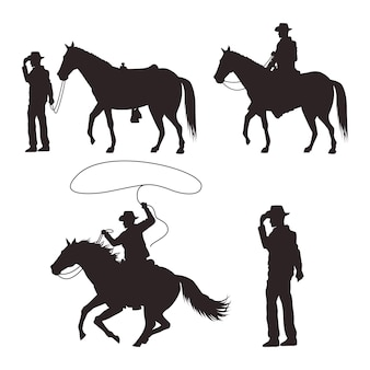 Cowboys silhouettes with guns and horses