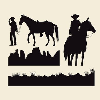 Ковбои с лошадьми, животные и силуэты местности