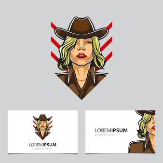 Cowgirl mascot and business cards