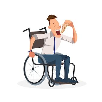 同僚がピザのスライスと車椅子に座る