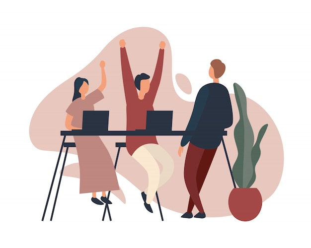 Coworkers celebrating success in office.  illustration