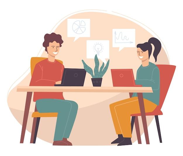비즈니스 개발 전략을 논의하는 동료들. 남자와 여자는 아이디어와 분석을 제시하기 위해 컴퓨터를 사용하여 이야기합니다. 대학 프로젝트에서 함께 일하는 학생들. 평면 스타일의 벡터