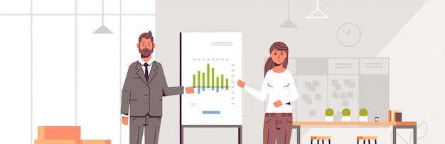 フリップチャートボードビジネスカップル男性女性プレゼンテーションモダンなオフィスインテリアを作るセミナー会議で財務グラフを提示する同僚