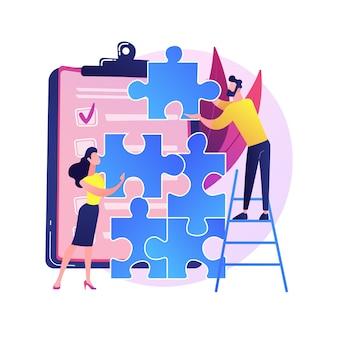 同僚のプロジェクト管理。チームビルディング、エグゼクティブマネージャーのチームワーク、同僚のコラボレーション。ジグソーパズルを組み立てる従業員のキャラクター。