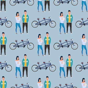 Coworkers and tandem bicycle seamless pattern