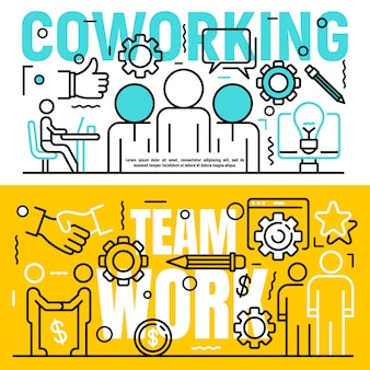 Coworking banner set, outline style