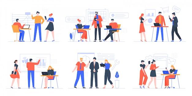 コワーキング事業チーム。コワーキングスペース、オフィスチームワーク会議イラストセットで一緒に働く人々、創造的なチームワーク。創造的なチームワーク、協力パートナーシップのブレーンストーミング