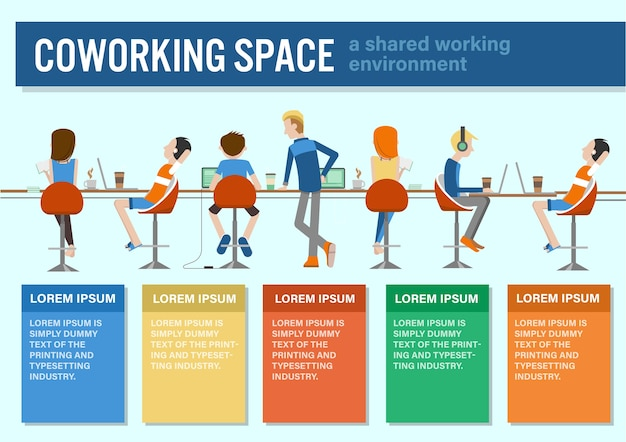 Coworking center infographic template