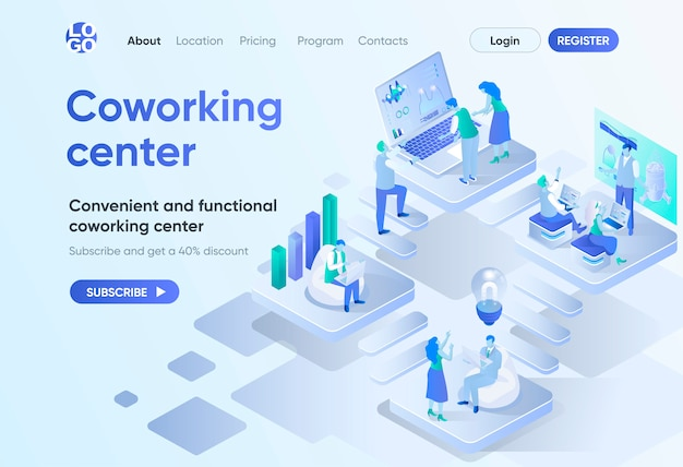 Coworking center isometric landing page. business community teamwork, convenient and functional workspace. coworking open area template for cms and website. isometry scene with people characters.