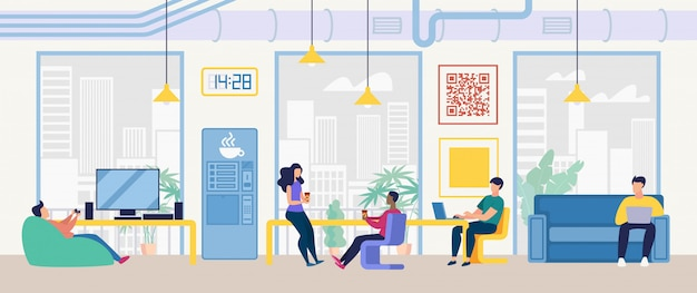 Coworking center, it company office vector concept
