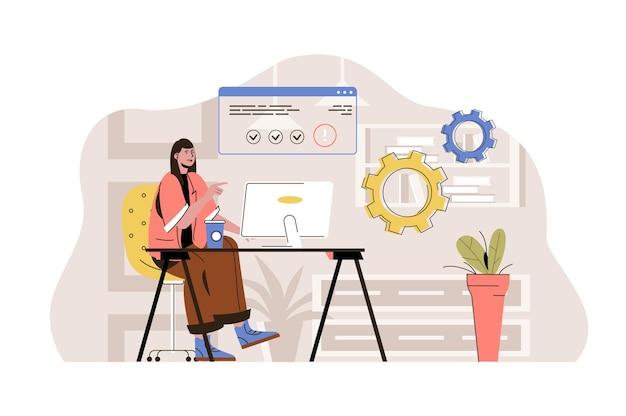 フラットな人々のキャラクターとコワーキングセンターのwebコンセプトイラスト