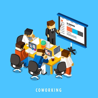 Coworking concept 3d isometric infographic with businessmen having a meeting