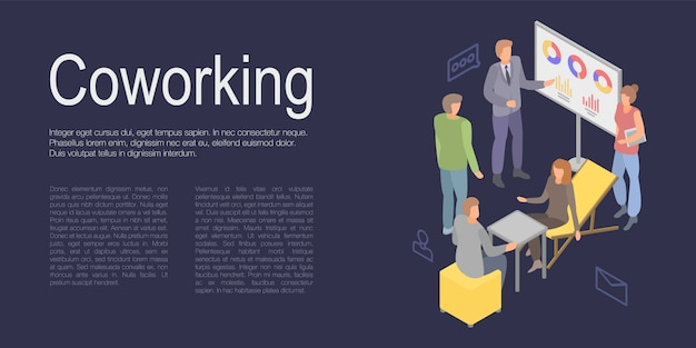 Coworking concept banner, isometric style