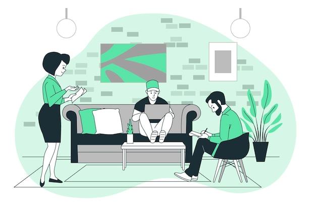 Illustrazione di concetto di coworking