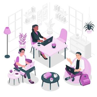 Illustrazione di concetto di coworking Vettore gratuito