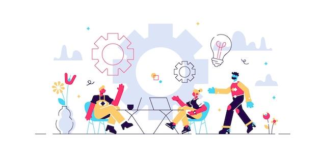 コワーキングの図。オフィスを共有する人々と様式化されたバナー。ヒップスターやフリーランサーのための自主的、協調的、柔軟で自発的な仕事。現代のブレーンストーミングとトーク。