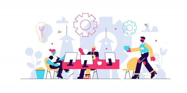 コワーキングイラスト。オフィスを共有する人々と様式化されたバナー。ヒップスターやフリーランサー向けの自主的、協調的、柔軟で自発的なワークスタイル。現代のブレーンストーミングとトーク。