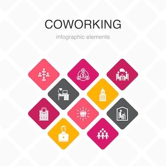 Coworking infographic 10 옵션 색상 디자인. 창조적 인 사무실, 협업, 직장, 공유 경제 간단한 아이콘