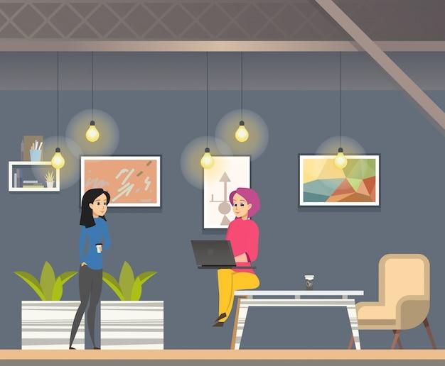 Coworking in informal open space modern office.
