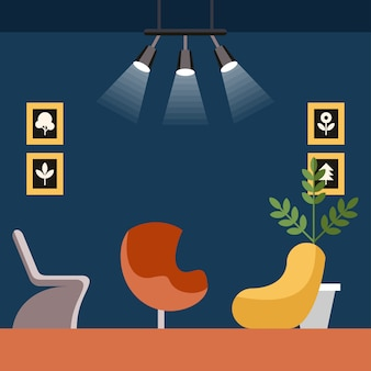 Coworking interior studio vector illustration.