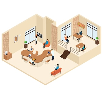 Coworking isometric center concept