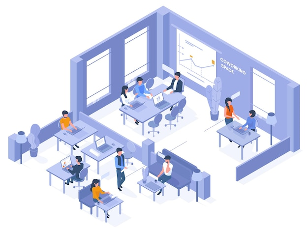 Coworking isometric office. freelancer coworkers in open office space, 3d business coworking space vector illustration. creative isometric office