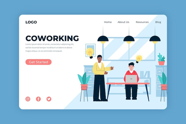 Coworking landing page template