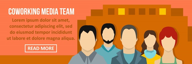 Coworking media team banner template horizontal concept