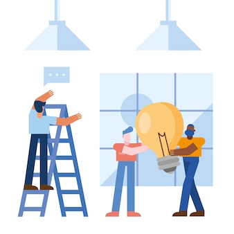 Coworking of men with light bulb at office Premium Vector