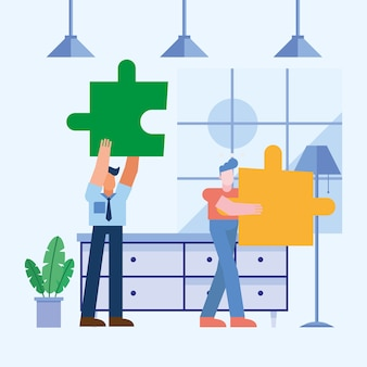 Coworking of men with puzzles at office
