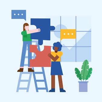 オフィスで泡とパズルとはしごで女性のコワーキング
