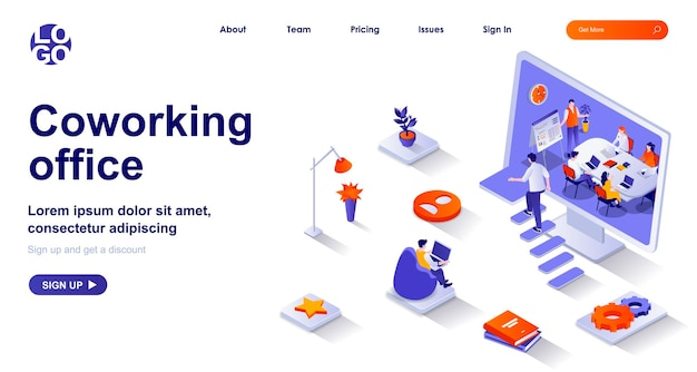 Coworking office 3d isometric landing page with people characters