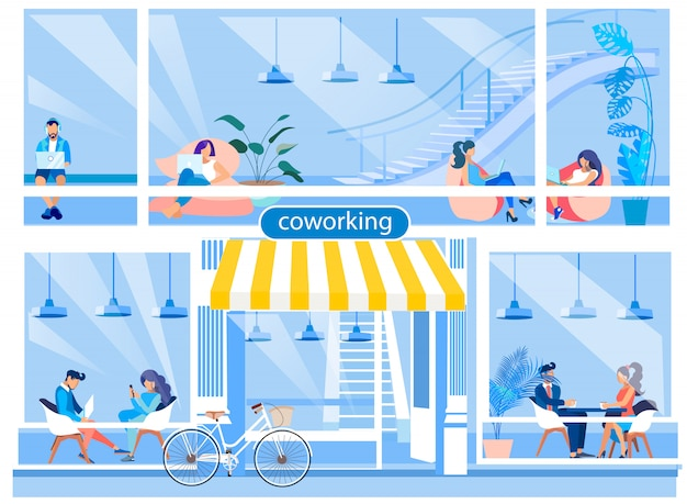 Coworking office advertising flat cartoon illustration