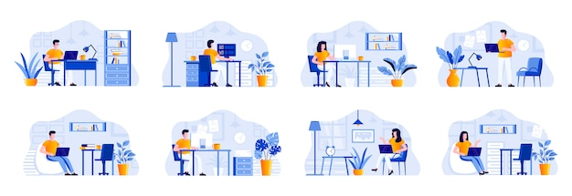 Coworking office bundle with people characters. designers and developers working with computers in coworking open space area situations. emploees and frelancers at workplace flat illustration