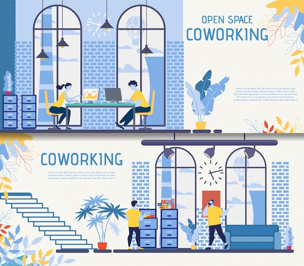Coworking office center flat vector banners set