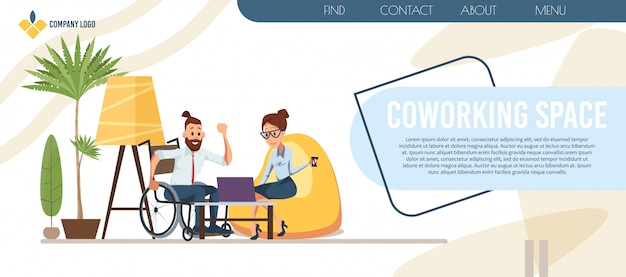 Coworking office center flat vector landing page