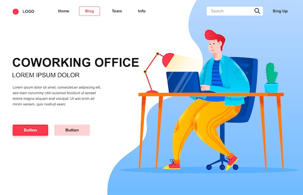 Coworking office flat landing page composition.