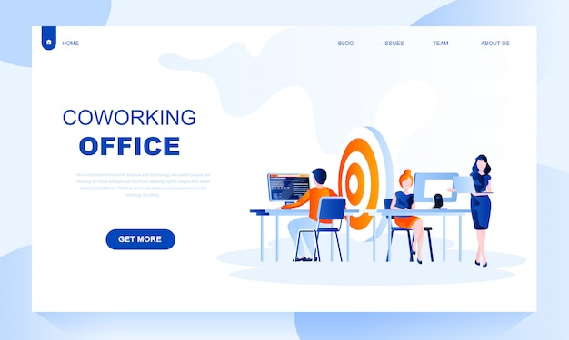 Coworking office flat landing page template with header