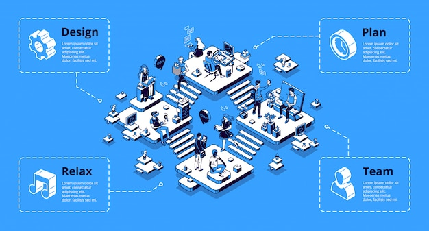 Coworking office infographics isometric landing