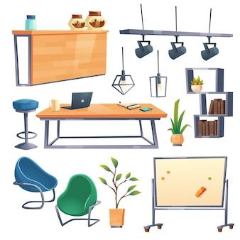 ノートパソコン、デスク、椅子、バーカウンターを備えたコワーキングオフィスのインテリア。白で隔離されるオープンスペースの職場、スツール、棚、マグネットボード、ランプ、植物のための漫画の家具