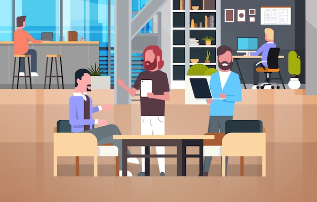 Coworking office interior with people working, casual businesspeople group in coworkers center