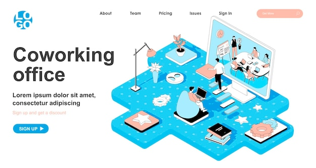 Coworking office isometric concept in 3d design for landing page