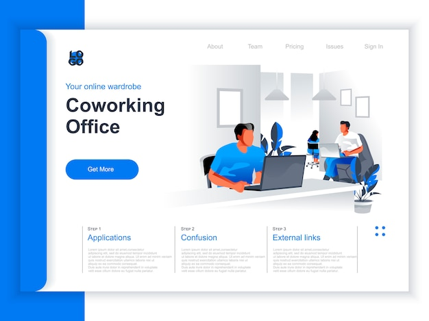 Coworking office isometric landing page. people working with computers in coworking open space area situation. modern business community, coworkers in contemporary workspace perspective flat design.